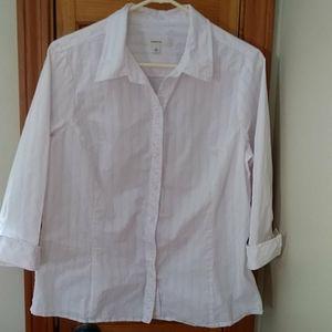 Merona Pink and White Stripe Shirt Size XL
